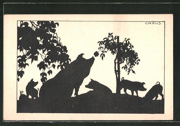 Künstler-AK Carus: Wildschweine