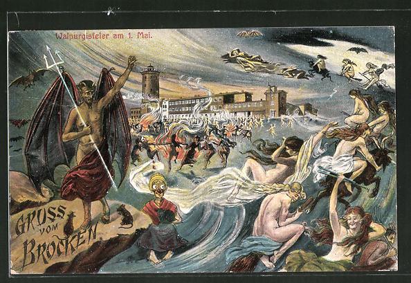 Künstler-AK Walpurgis-Feier auf dem Brocken am 1. Mai mit Teufel und Hexen