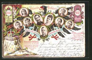 Lithographie Hohenzollern-Parfümerie Berlin, die preussische Kaiserfamilie von Hohenzollern