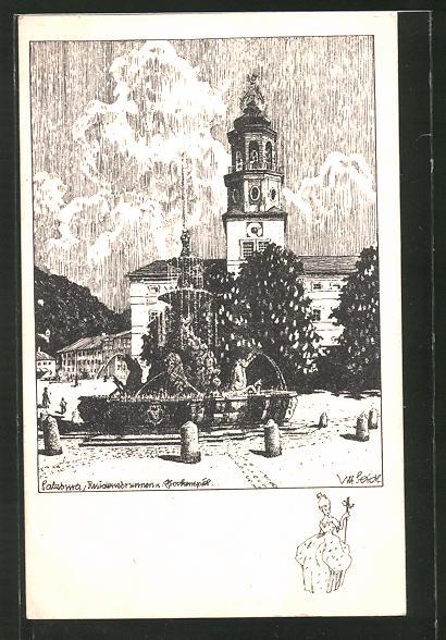 Künstler-AK Ulf Seidl: Salzburg, Residenzbrunnen mit Glockenspiel