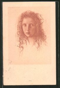 Künstler-AK Walter Schachinger: Mädchen-Porträt in rot