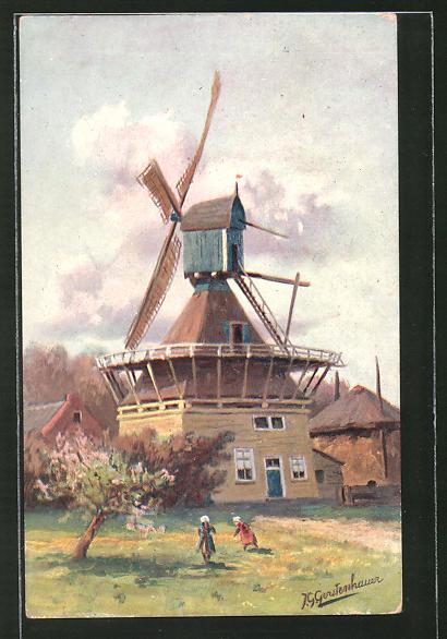 Künstler-AK Johan Georg Gerstenhauer: holländische Windmühle