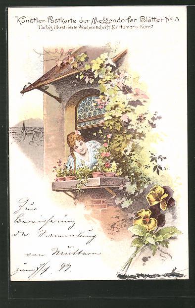 Künstler-AK Meggendorfer Blätter Nr.: 3, Mädchen schaut aus dem Fenster
