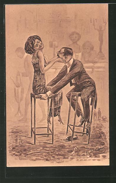 Künstler-AK sign.: R. Lehmann, Serie: Fledermaus (Nachtleben), Gewissensfrage