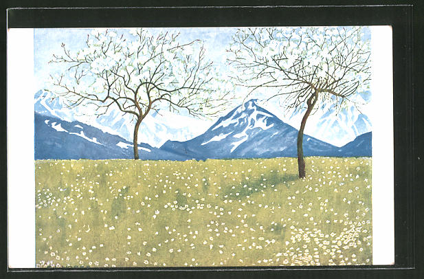 Künstler-AK Eugen Ludwig Hoess: Frühling in den Alpen