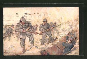 Künstler-AK Max Rabes: deutsche Infanterie stürmt französischen Schützengraben