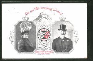 AK Jubiläumskarte zur silbernen Hochzeit des württembergischen Königspaares 1886-1911