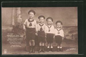 AK Porträt von Erbgrossherzog Friedrich, Herzog Christian Ludwig, Herzog Ernst und Herzog Georg von Braunschweig