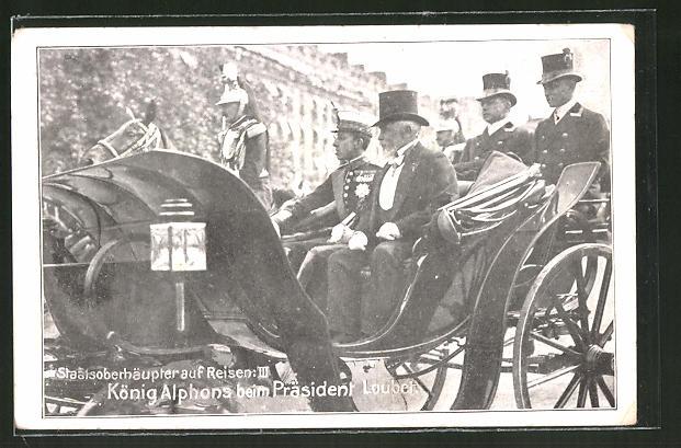 AK Staatsoberhäupter auf Reisen: König Alphons von Spanien beim Präsident Loubet