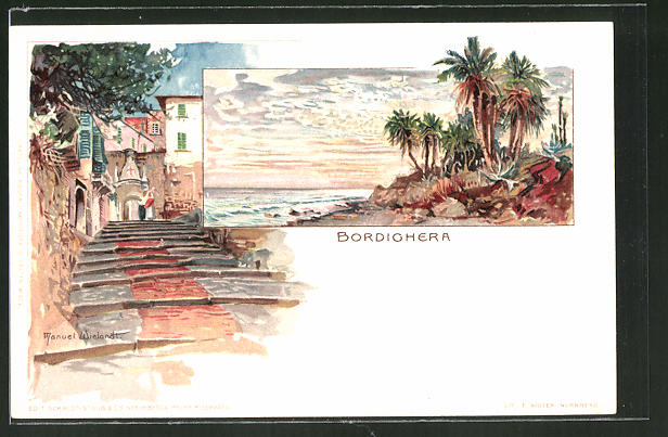 Künstler-AK Manuel Wielandt: Bordighera, Treppenaufgang, Palmen am Strand