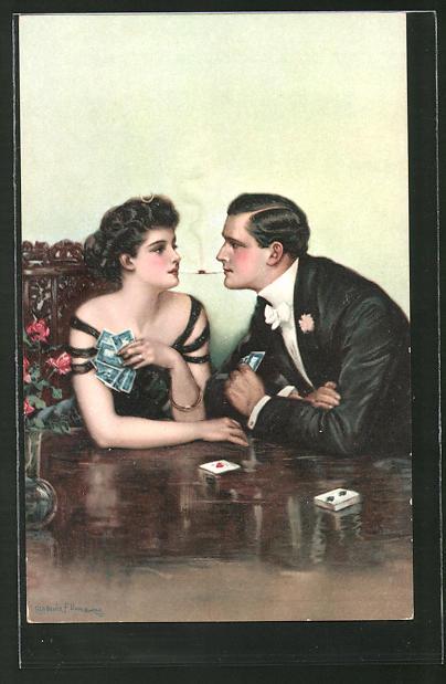 Künstler-AK Clarence F. Underwood: Liebespaar beim Kartenspiel