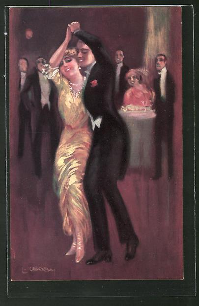 Künstler-AK Luis Usabal: Paar tanzt ausgelassen auf einem Ball
