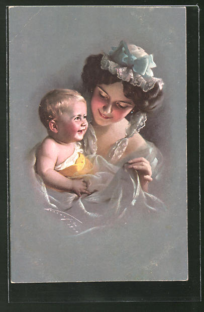 Künstler-AK Ludwig Knoefel: Mutter mit ihrem Kind