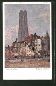 Künstler-AK Max Rabes: Marktplatz in Mecheln