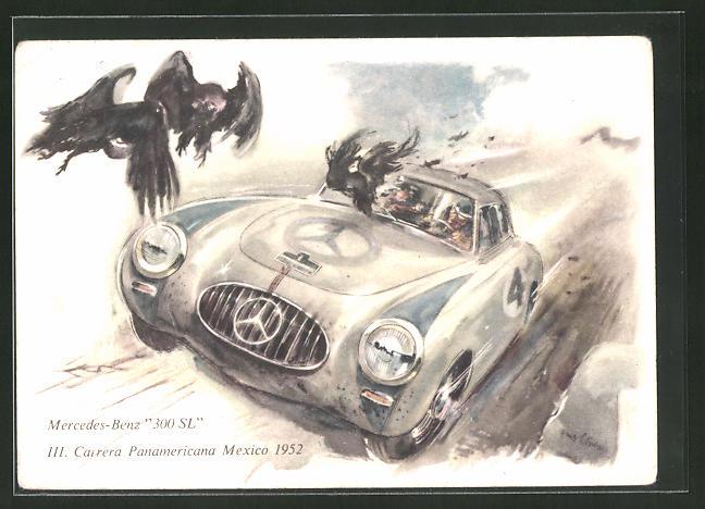 Künstler-AK Mercedes Benz 300 SL beim Autorennen III. Carrera Panamericana Mexico 1952
