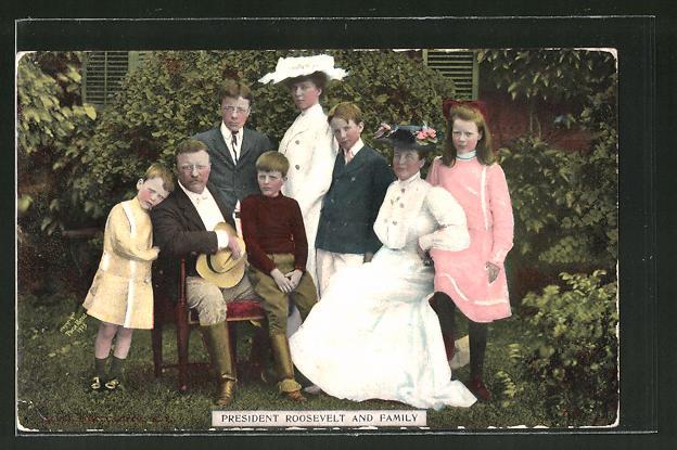 AK Präsident der USA Theodore Roosevelt und seine Familie 0