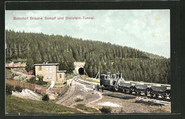 AK Bahnhof Braune Sumpf und Bielstein-Tunnel 0