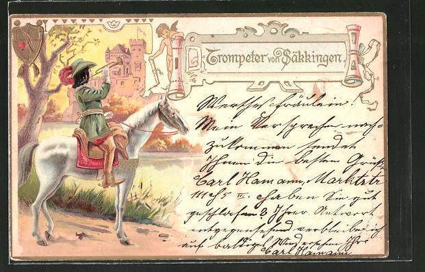 Künstler-AK Behüt Dich Gott!, Trompeter von Säckingen, Wappen 0
