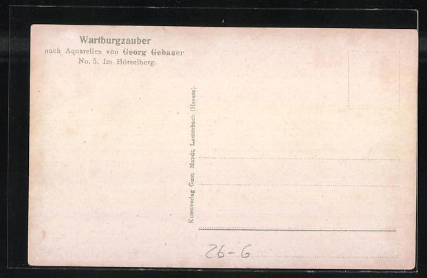 Künstler-AK Fidus: Wartburgzauber, Nr. 5: im Hörselberg 1