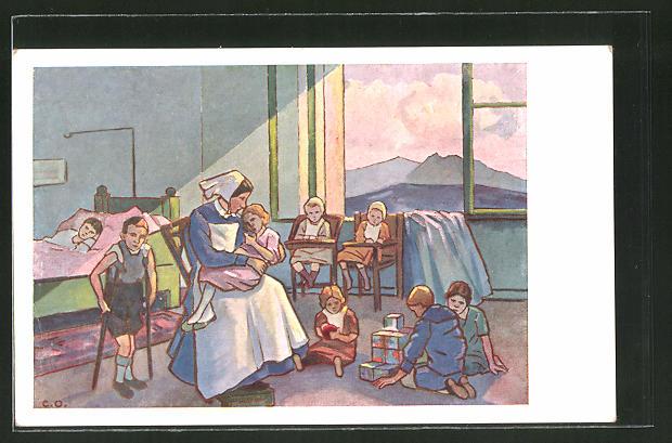 Künstler-AK Krankenschwester tröstet kranke Kinder im Kinderspital