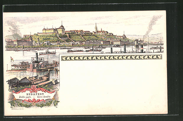 Lithographie Budapest, Rive Droite, Panoramablick auf die Stadt, Ganzsache