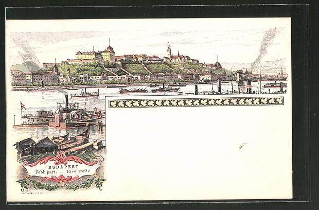 Lithographie Budapest, Rive Droite, Blick auf die Stadt, Ganzsache