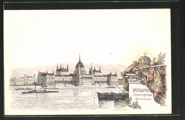 Lithographie Budapest, Országház / Parlament, Ganzsache