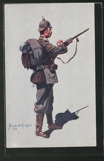 Künstler-AK Infanterist des 4. Garde-Reg. zu Fuss (Berlin) in Felduniform 1914-1915