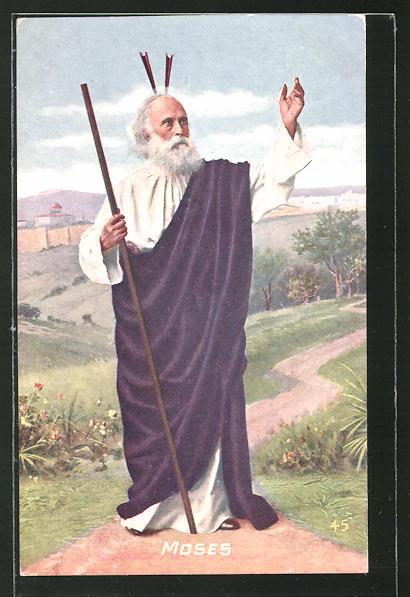 AK Moses mit Stab auf Wanderschaft 0