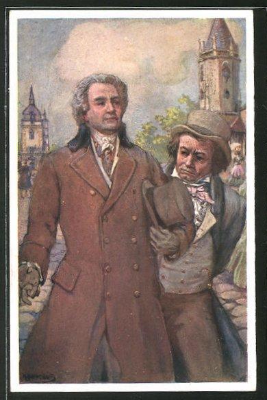 Künstler-AK Adolf Karpellus: Goethe und Beethoven in Teplitz