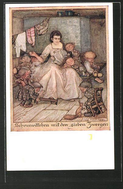 Künstler-AK Deutscher Schulverein Nr. 1255: Schneewittchen mit den sieben Zwergen