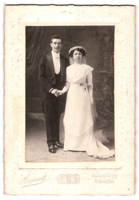 Fotografie Acquart, Vincennes, Portrait bürgerliches Hochzeitspaar