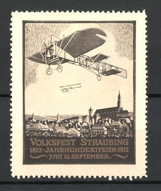 Reklamemarke Straubing, Volksfest zur Jahrhundertfeier 1912, Doppeldecker über der Stadt