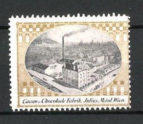Reklamemarke Schokoladen-und Kakao-Fabrik der Firma Julius Meinl, Wien, Fabrik-Ansicht
