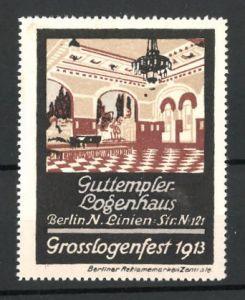 Reklamemarke Konditorei-Café im Guttempler-Logenhaus in Berlin, Konzertsaal