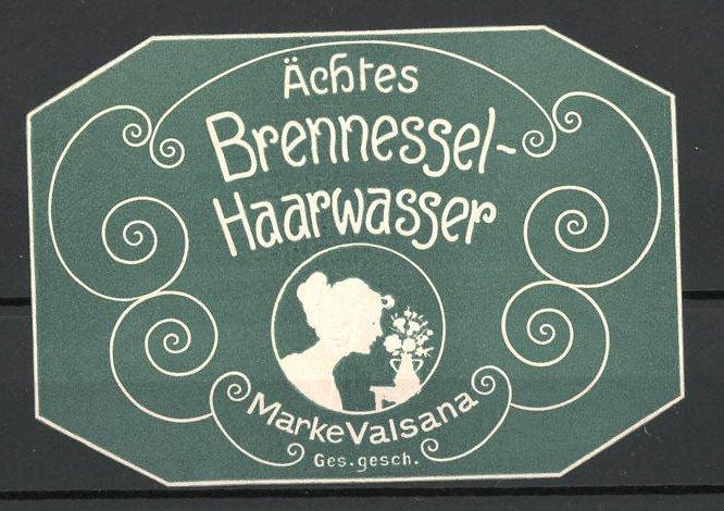Präge-Reklamemarke ächtes Brennnessel-Haarwasser der Marke