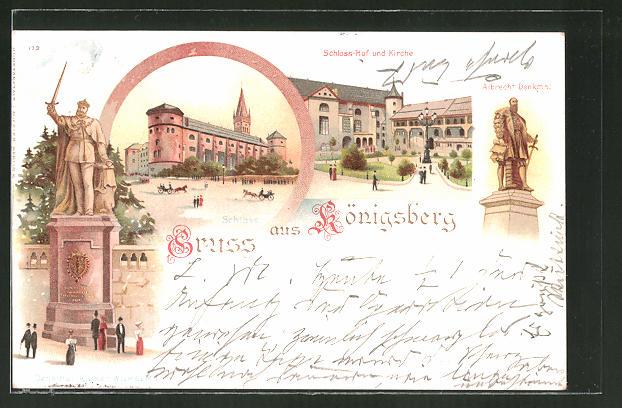 Lithographie Königsberg, Schloss-Hof & Kirche, Denkmal Kaiser Wilhelm I., Schloss, Albrecht Denkmal