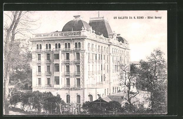 AK San Remo, Blick auf das Hotel Savoy