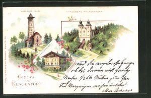 Lithographie Klagenfurt, Kreuzberg, Schweizerhaus, Aussichtsturm