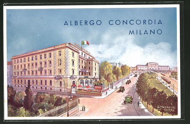Künstler-AK Milano, Ansicht vom Hotel / Albergo Concordia