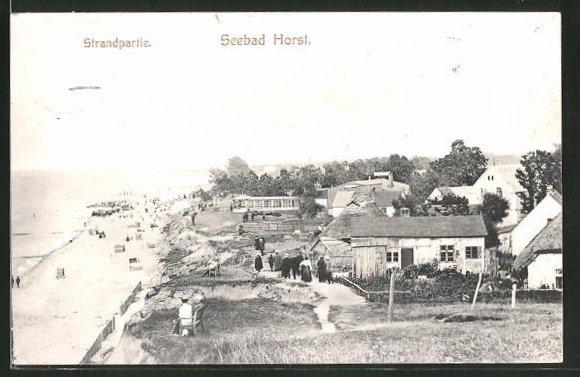 AK Horst / Seebad, Strandpartie mit Häusern