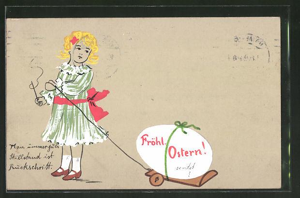 Künstler-AK Handgemalt: Mädchen zieht ein Osterei hinter sich her