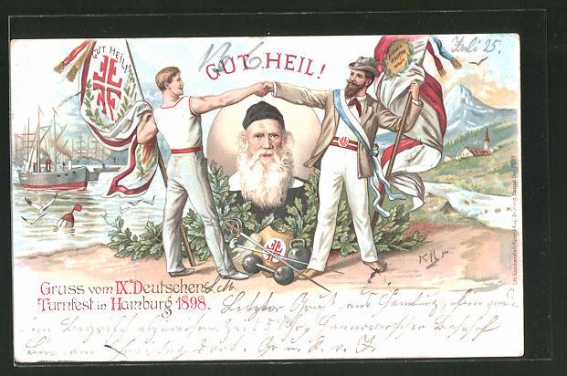 Lithographie Hamburg, IX. Deutsches Turnfest 1898,