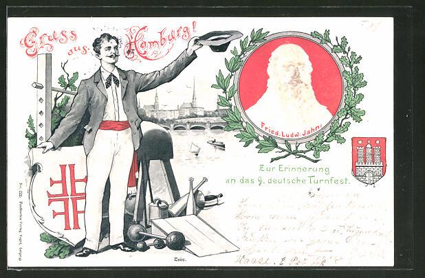 Lithographie Hamburg, 9. Deutsches Turnfest 1898,