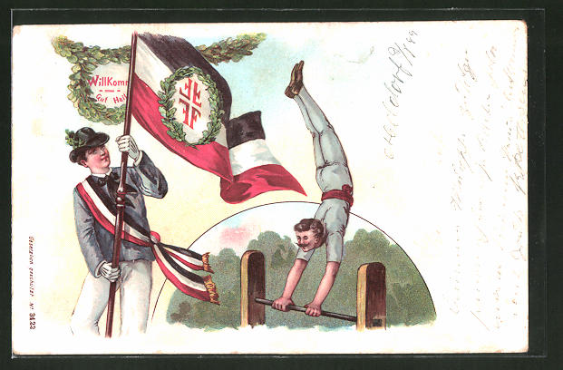 Lithographie Turner bei der Übung am Reck, Fahne