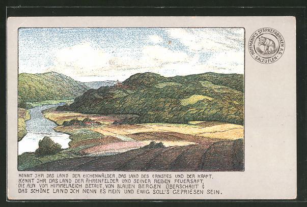 Lithographie Hoffmanns Stärkefabriken A.G., Landschaftsporträt