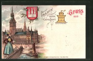 Lithographie Hamburg, Reklame Aecht Franck anerkannt Bester Caffee-Zusatz, Rathaus & Wappen