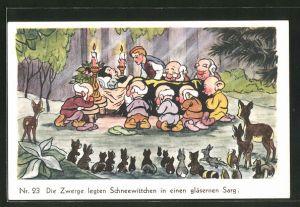 AK Schneewittchen-Comic Nr. 23: Die Zwerge legten Schneewittchen in einen gläsernen Sarg