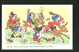 AK Schneewittchen-Comic Nr. 22: Tiere und Zwerge eilen Schneewittchen zu Hilfe