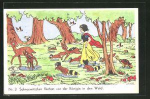 AK Schneewittchen-Comic Nr. 3: Schneewittchen flüchtet vor der Königin in den Wald
